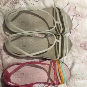 Two pairs of Crocs sandals size 8